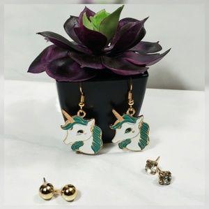 Jewelry - Turquoise Unicorn 3 Set Earings